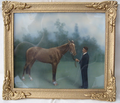 Albert nevin with horse painted from photo in frame