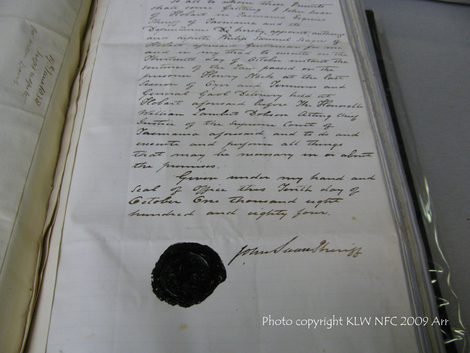 Death warrant certification for Henry Stock 1884