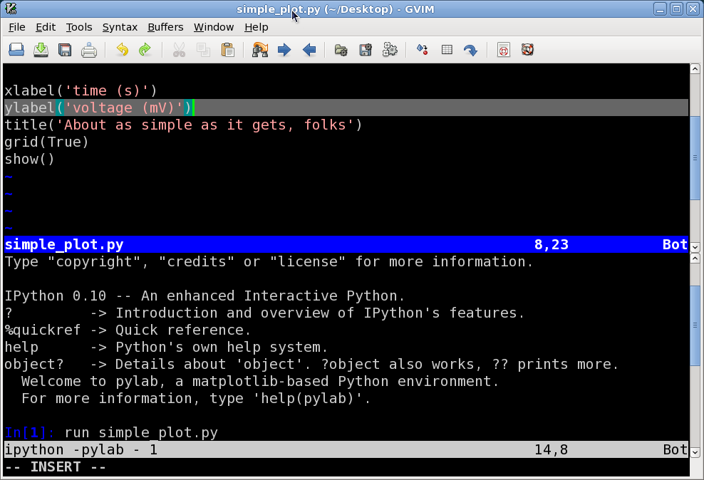 On Clouds, Poems, Python and more   : GVIM+IPython with