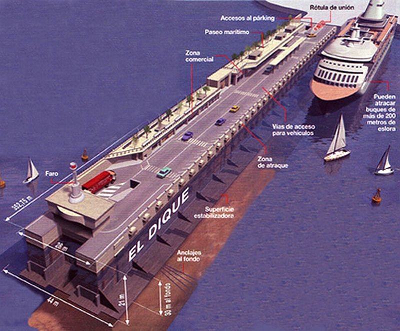 Resultado de imagen para Fotos de En la bahía de Algeciras, parte con destino a Mónaco, la mayor estructura flotante del mundo, construida por los grupos españoles FCC y Dragados.
