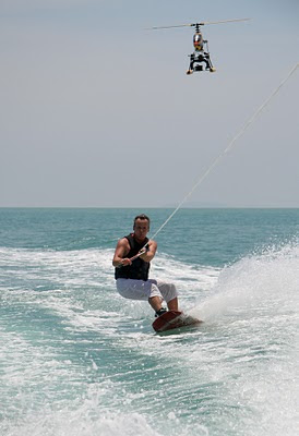 Wakeboarding and the Helicam helicopter
