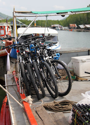 Our bikes already loaded on the roof of the ferry