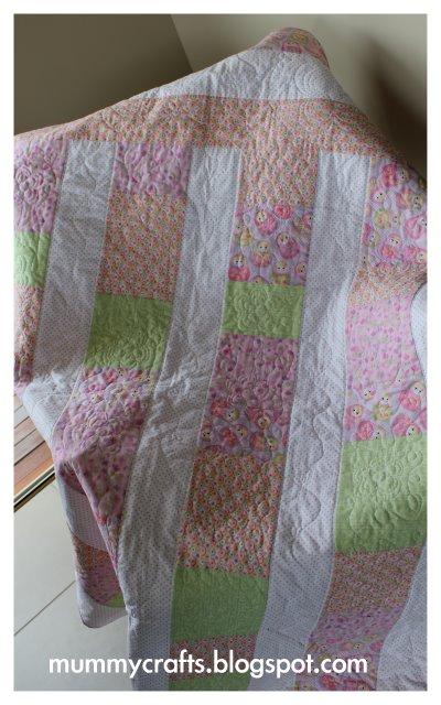 baby girl quilt babushka pink green