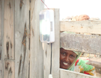 A light bulb in the village of Khor Angar lit by solar power.