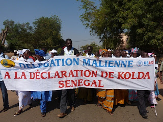 The delegation from Mali marches to the public declaration.