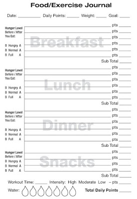 fitness journal template printable - weight watchers food journal printable