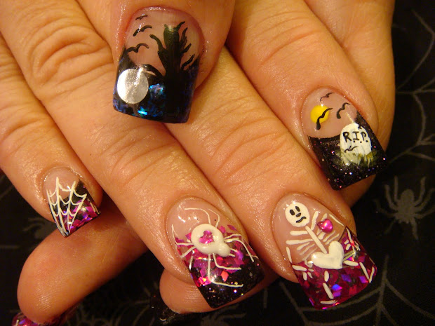 scary 3d halloween nail art
