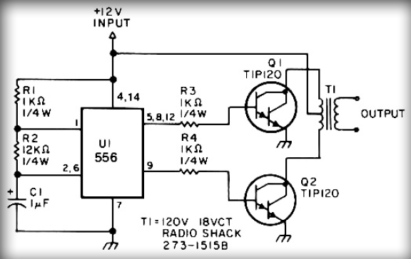simple inverter circuit with ic556 timer chip