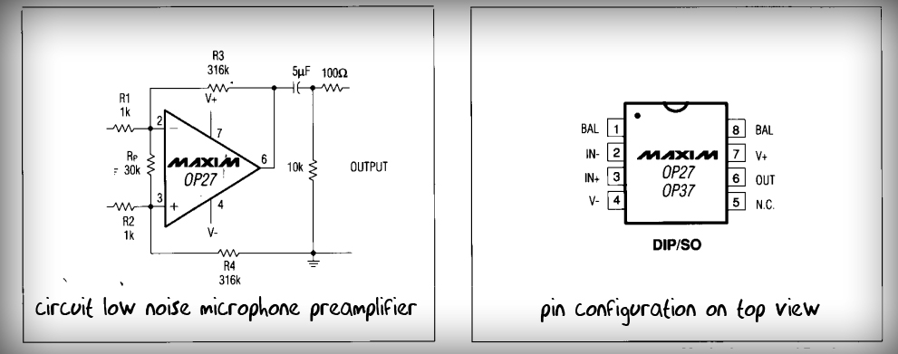 Low Noise Microphone Preamplifier Circuit Maxim
