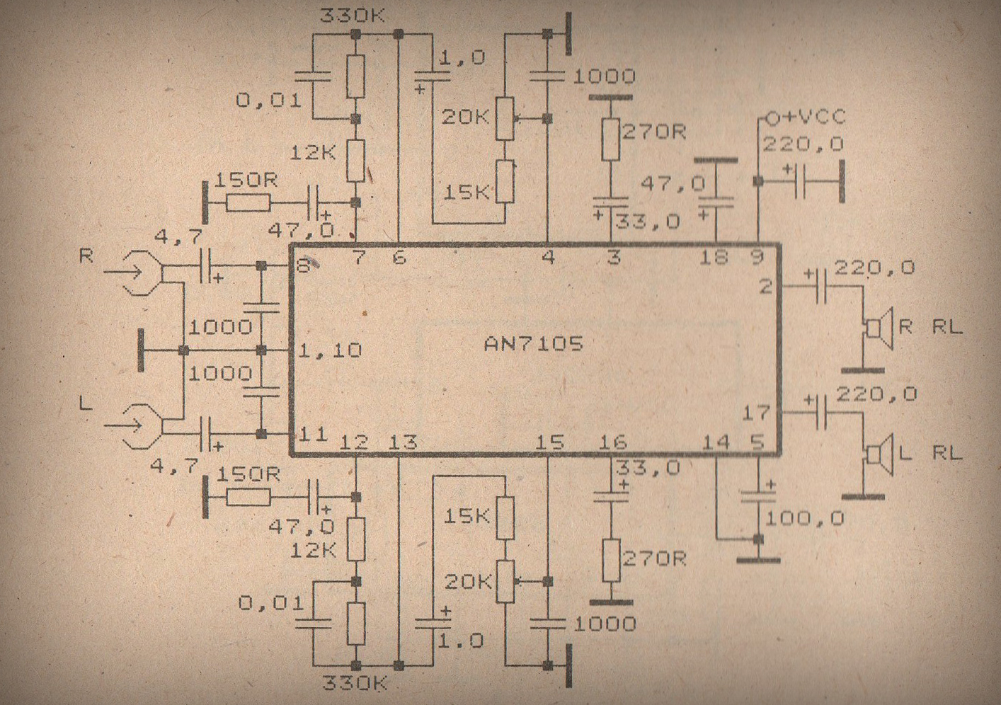 schematic audio amplifier with ic an7108 data schematic diagram schematic audio amplifier with ic ic an272 [ 1414 x 996 Pixel ]