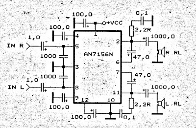 Power Amplifier Circuit 2 x 20 W stereo with IC AN7156N