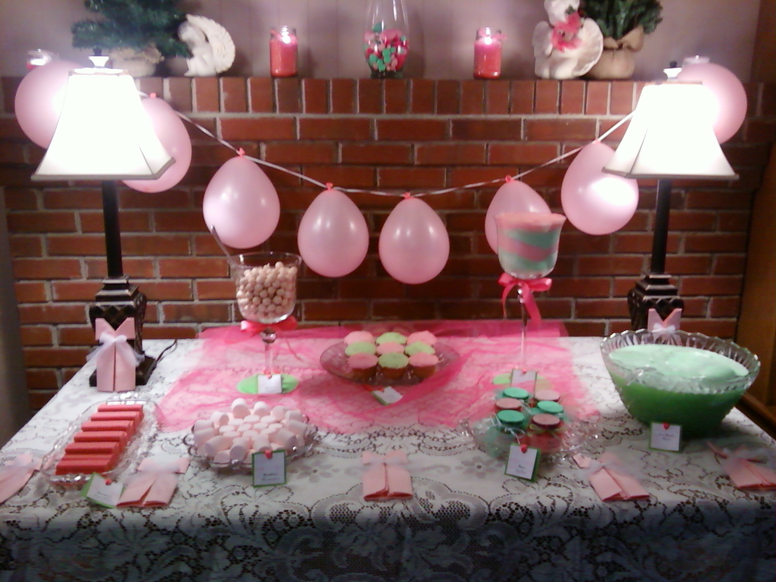 I Burned The Brownies: Girl's Pink and Green Baby Shower