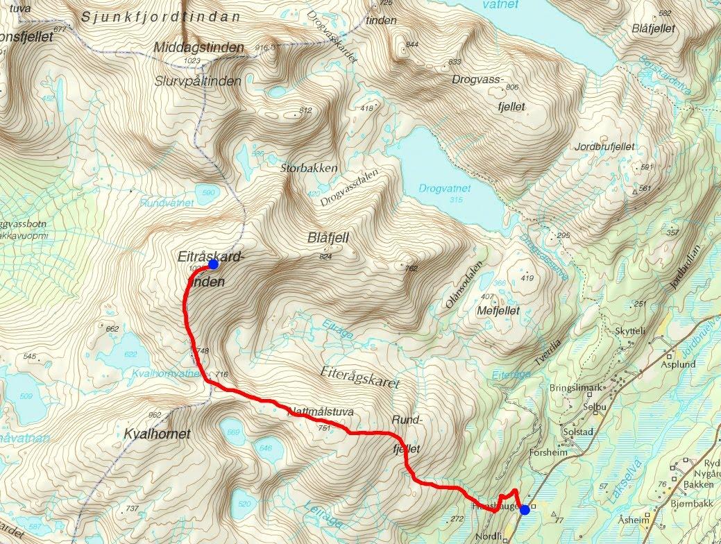 valnesfjord kart Toppturer i Salten: Eitråskardtinden (1027)   Valnesfjord