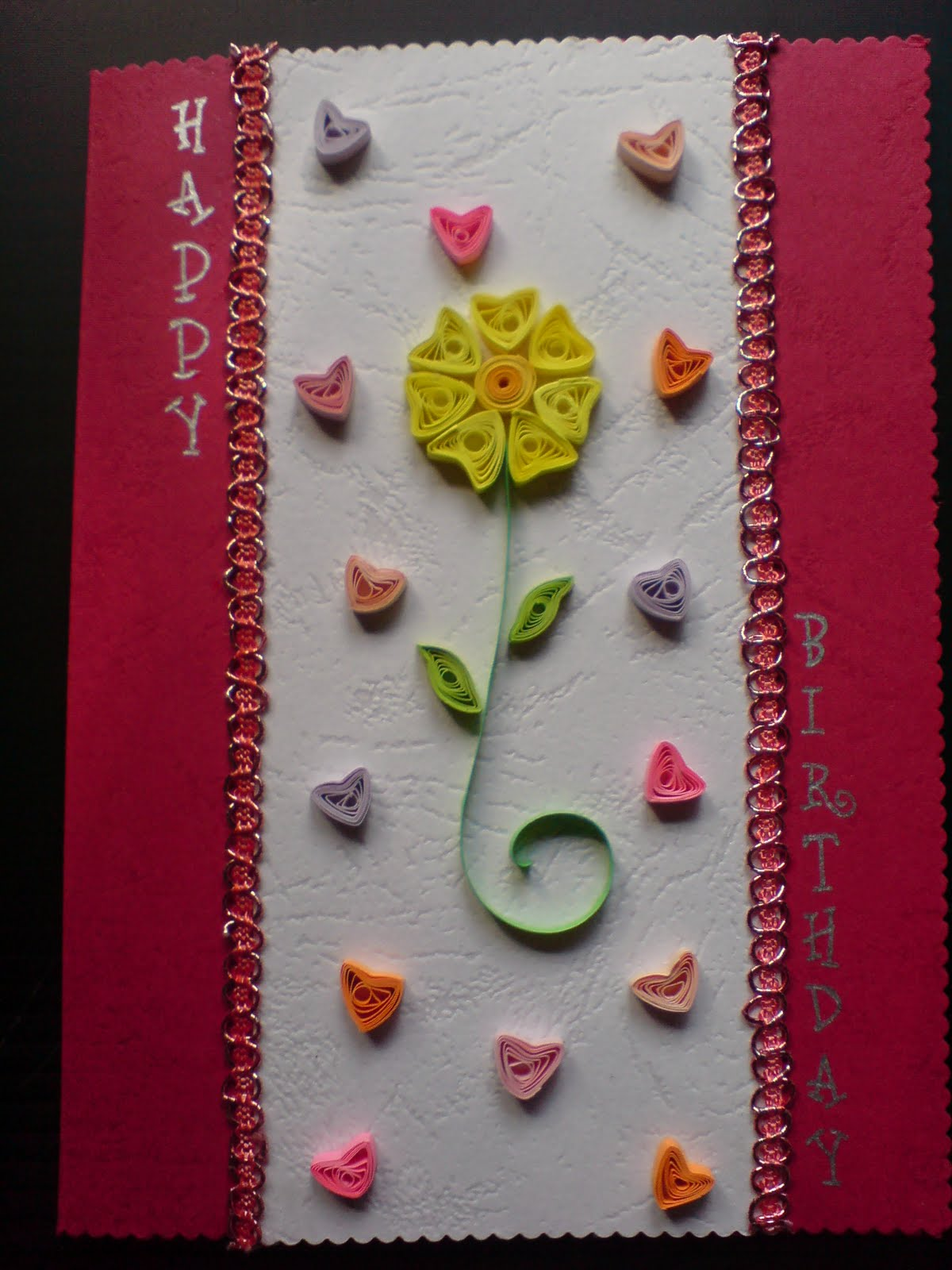 Chami Crafts - Handmade Greeting Cards: Hearts Birthday Card