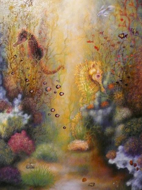 Underwater World Seahorses Oil Painting