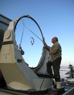 Professor Townes with one of the telescope's three main components