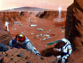 An impression of astronauts in a Mars colony