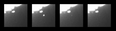A sequence of images shows the bright flash as Kaguya strikes the Moon
