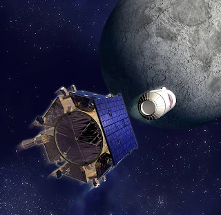 Artist's impression of LCROSS missile being fired at the Moon