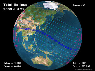 Eclipse track by Fred Espenak/NASA