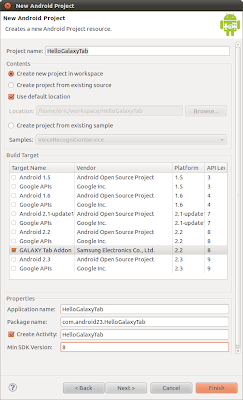 Create new project with GALAXY Tab as the Build Target