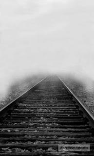 photo noir et blanc d'une rail de train dans la brume
