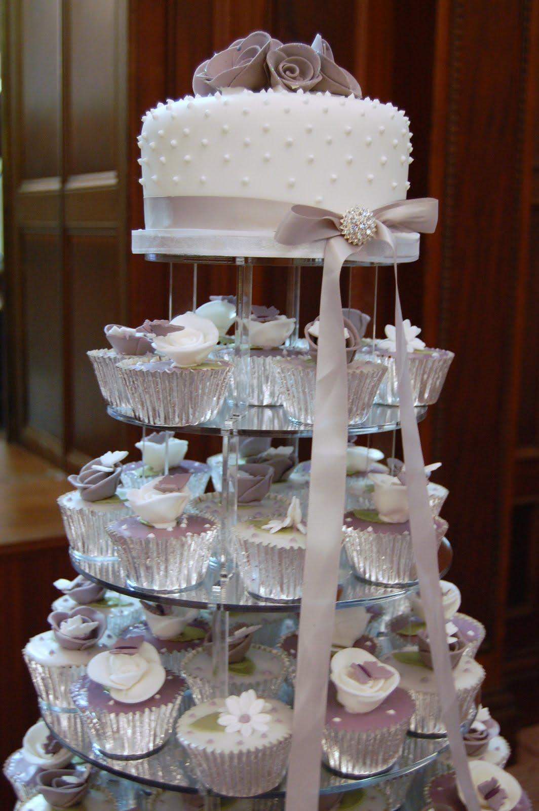 Iced Victorian Lilac Cupcake Wedding Cake