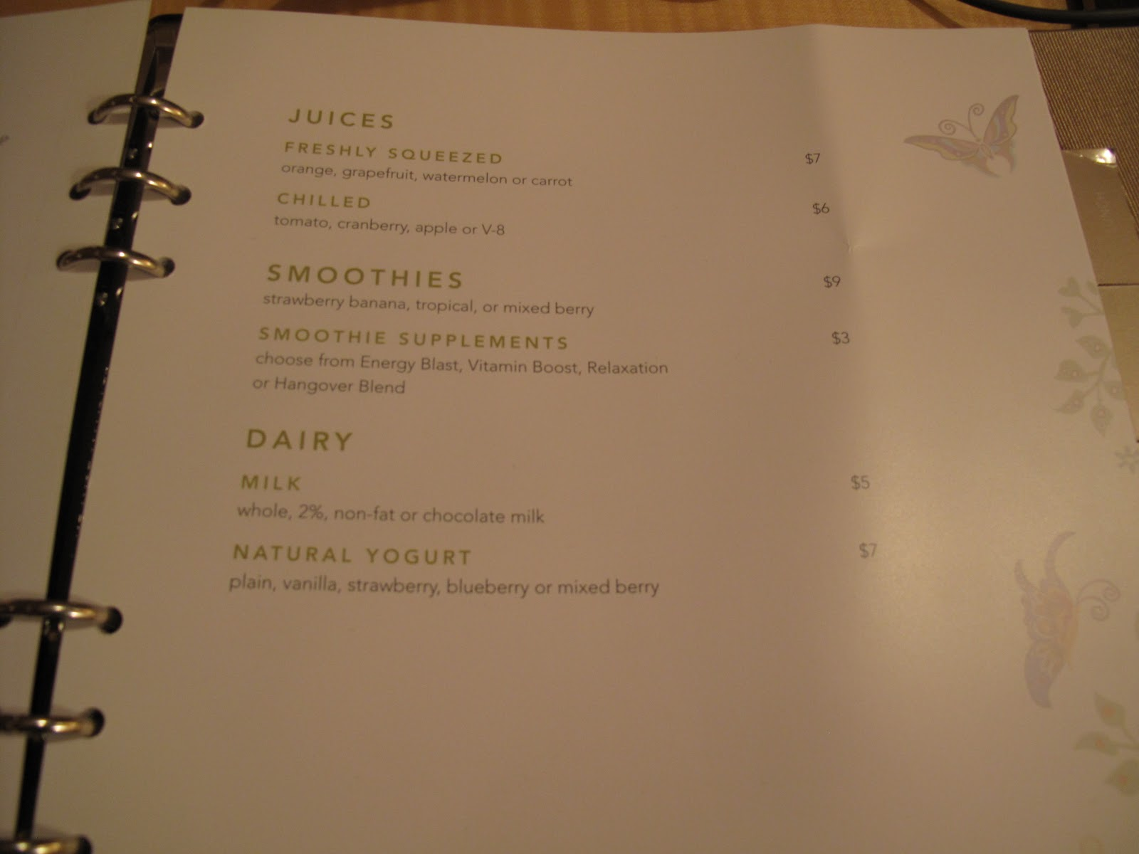 This Is The Room Service Menu That Was In My At Encore December 2010 And I Ume It S Same Or Similar To One Wynn
