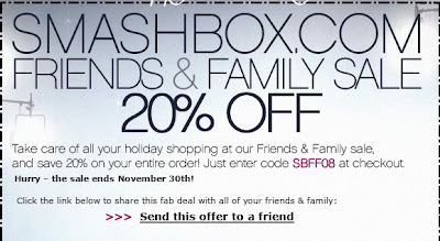 smashbox cosmetics friends family 20 coupon code musings of a muse. Black Bedroom Furniture Sets. Home Design Ideas