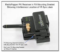 CP1104AD: RadioPopper PX Receiver in PX Mounting Bracket Showing Interference Location of IR Sync Jack