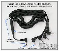 Quad Linked Sync Cord (Coiled Rubber) RA Mini Plug to 4 RA Sub-Mini Plugs