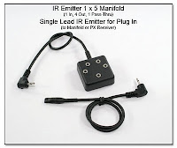 CP1104AE: IR Emitter 1x5 Manifold (1 In, 4 Out, 1 Pass-Thru) & Single Lead IR Emitter for Plug In
