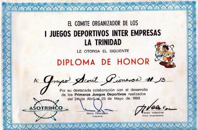 Museo Virtual Scouts Venezuela: Servicio Scout en el I Juegos Deportivos  Inter Empresas La Trinidad