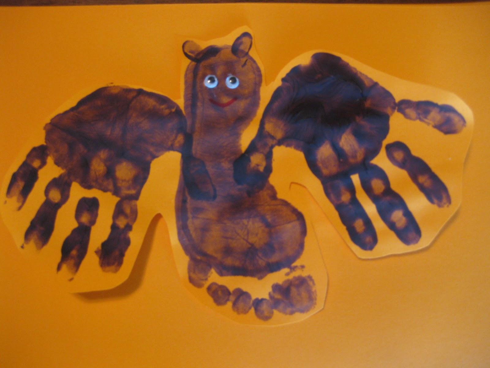 Hand And Footprint Halloween Crafts Halloween Crafts Easy Halloween