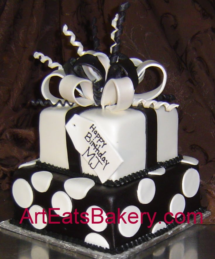 Two Tier Black And White Fondant Square Presents Birthday Cake With