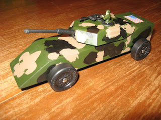 Elis Car He Is Into GI Joe And Army Things Now Wanted His Derby To Be An Tank