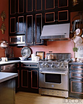 A Black And Gold Kitchen