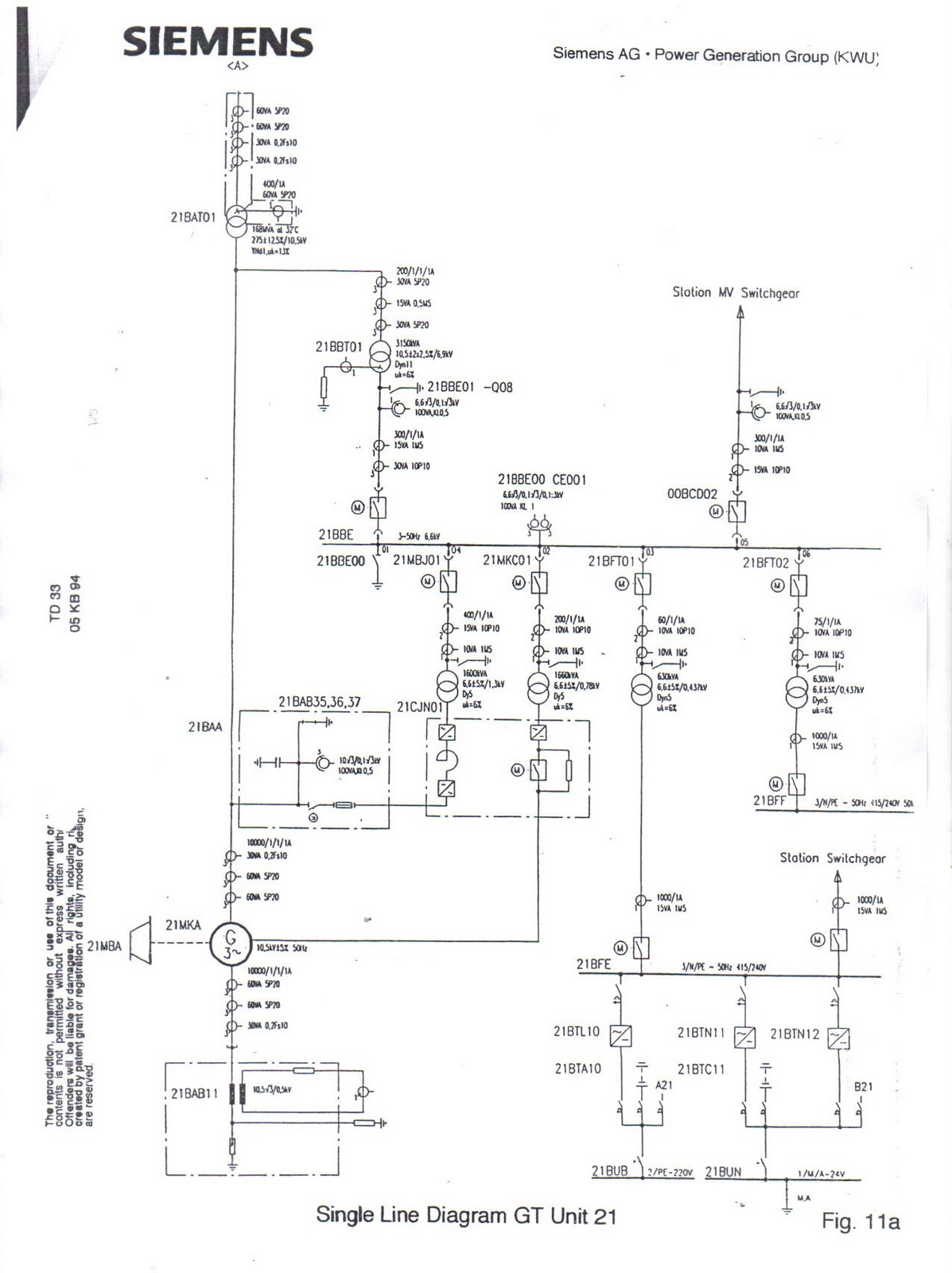 hight resolution of gt and st single line diagram