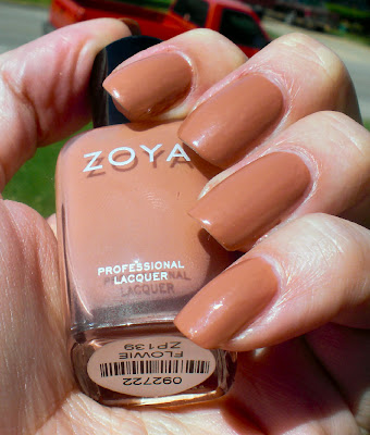 would call this a light  peachy brown creme  Easy application  This    Zoya Flowie