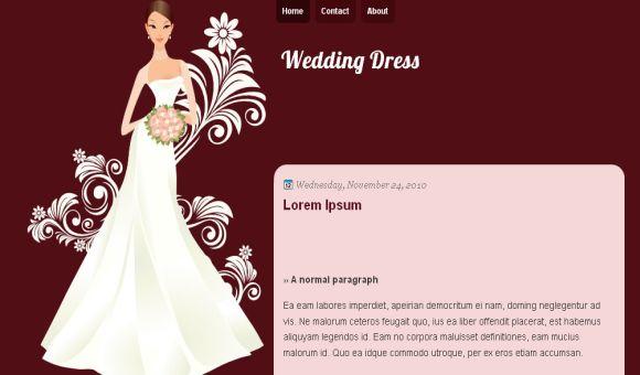 Free Wedding Maroon Dress Free Blogger Template