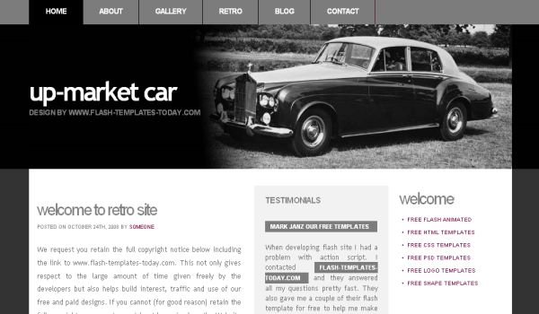 Free Classic Cars Black CSS Template