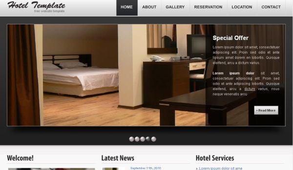 Free Hotel Black Gray Website Template