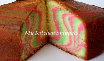My Kitchen Snippets Tri Color Marble Cake