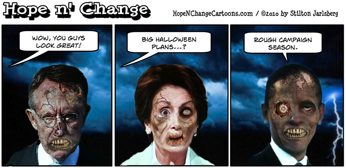Obama, Pelosi and Reid aren't dressed for Halloween - they just look like zombies after this campaign season, hope and change, hopenchange, hope n' change, stilton jarlsberg