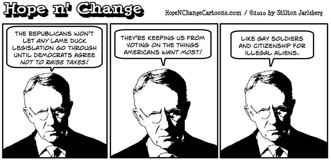 Harry Reid is angry that the Republicans think funding government and preventing tax hikes are more important in the lame duck session that gay rights and citizenship for illegal aliens, hope n' change, hopenchange, hope and change, stilton jarlsberg