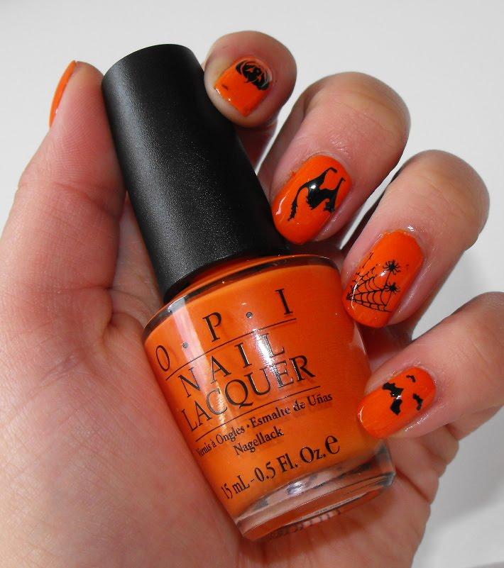 makeroomforcupcake: Halloween Nails: Orange and Black Faux-nad