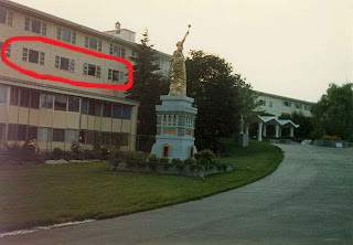 This is the South Fallsburg ashram as it looked in 1982. It is the former Gilbert's Hotel. The circled area is the floor where the young girls were housed. The are below it was Muktananda's living quarters.