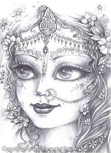 Pencil sketch of radha and krishna