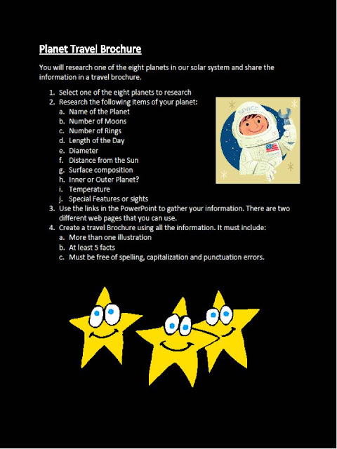 3rd Grade Space WebQuest Planet Travel Brochure