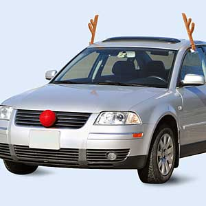How can I attach reindeer antlers onto my car when I have
